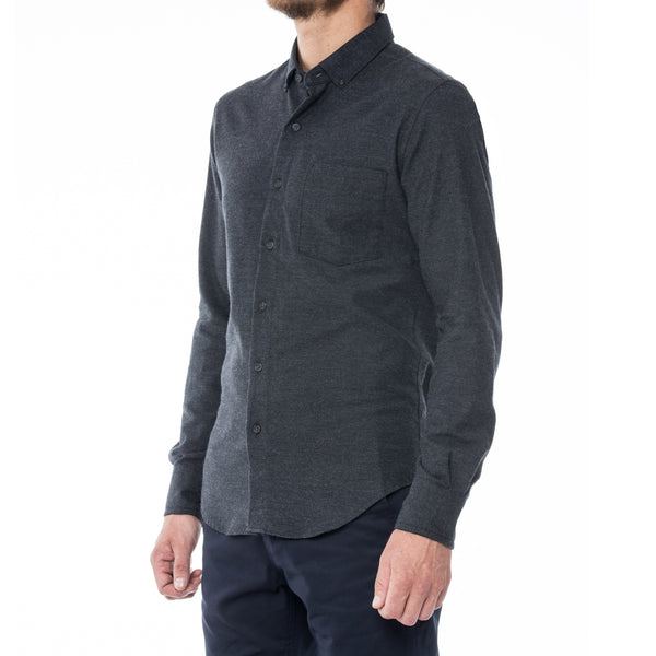 Charcoal Twill Flannel Long Sleeve Shirt - Sydney's, Toronto, Bespoke Suit, Made-to-Measure, Custom Suit,