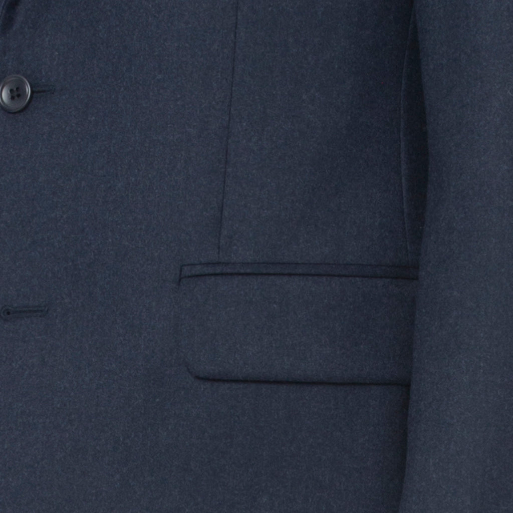 Steel Blue Melange Flannel Suit - Sydney's, Toronto, Bespoke Suit, Made-to-Measure, Custom Suit,