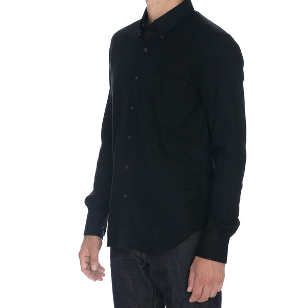 Black Brushed Kersey Long Sleeve Shirt - Sydney's, Toronto, Bespoke Suit, Made-to-Measure, Custom Suit,