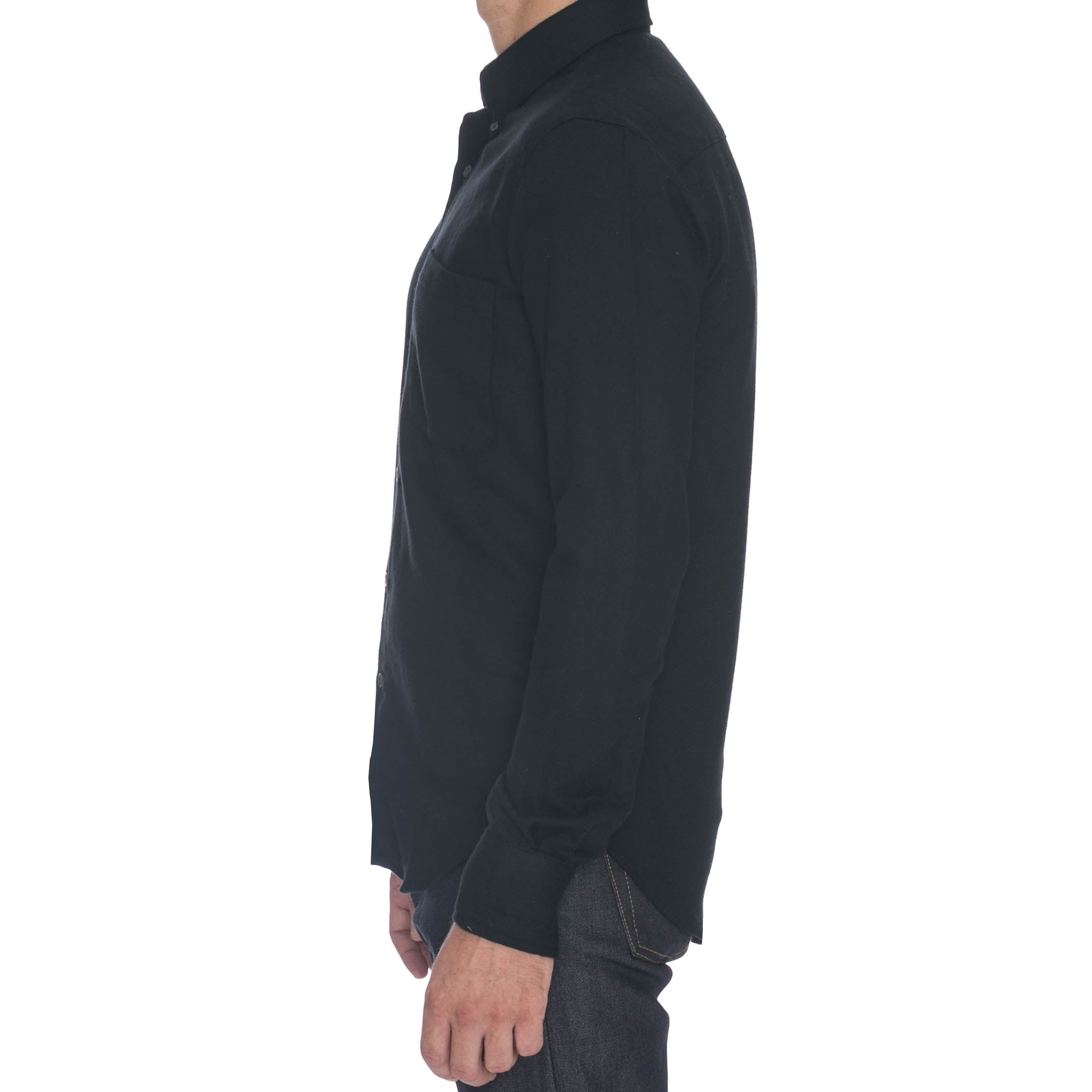 Black Brushed Kersey Long Sleeve Shirt