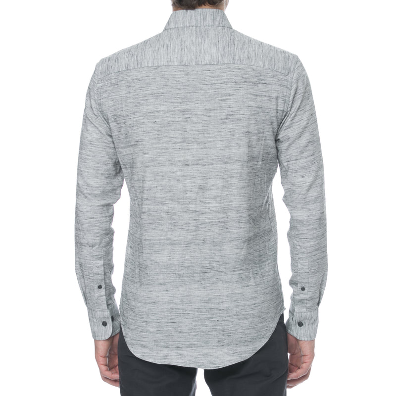 Grey Mélange Twill Long Sleeve Shirt - Sydney's, Toronto, Bespoke Suit, Made-to-Measure, Custom Suit,