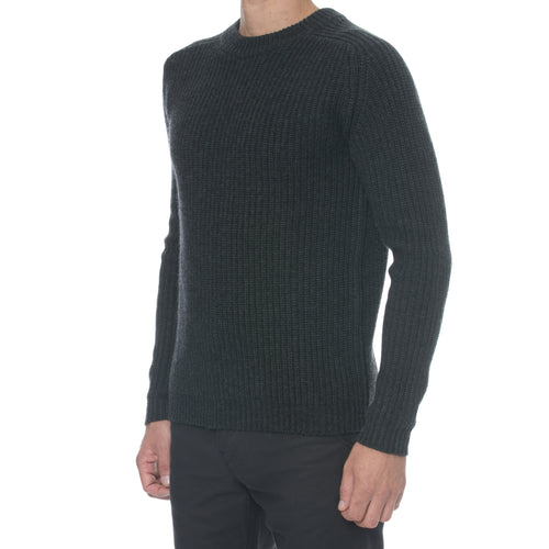 Charcoal Fisherman Knit Cashmere Sweater