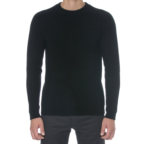 Black Fisherman Knit Cashmere Sweater
