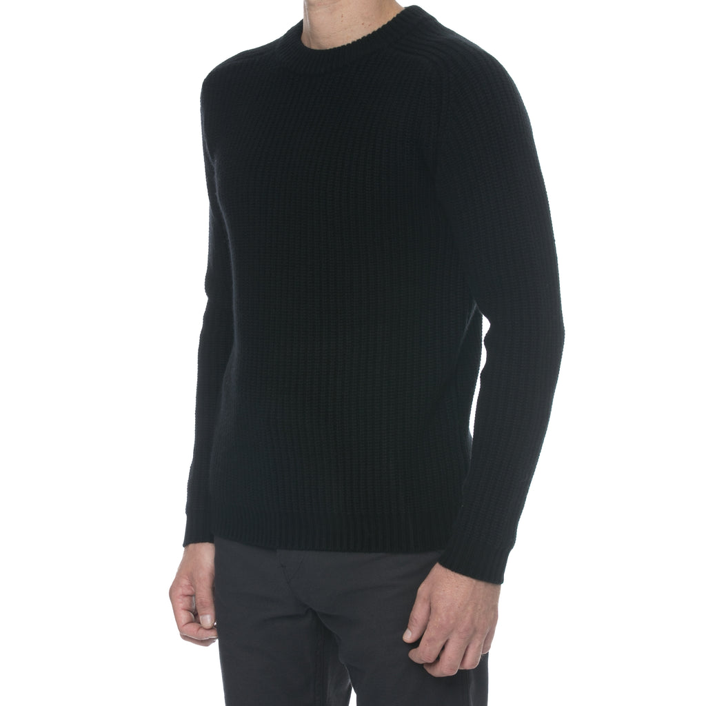 Black Fisherman Knit Cashmere Sweater - Sydney's, Toronto, Bespoke Suit, Made-to-Measure, Custom Suit,