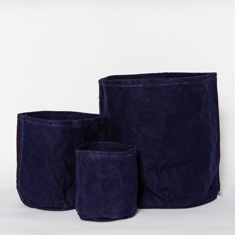 Medium Waxed Canvas Pot Cover, Ink Blue