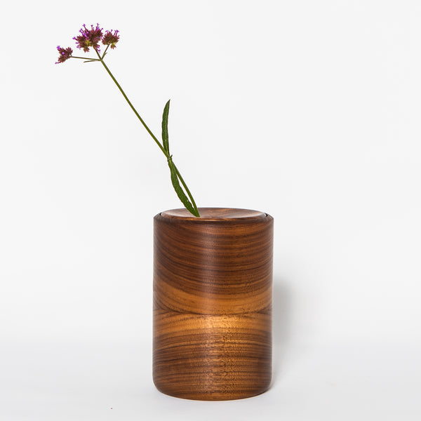 "Black Walnut Ring Lid 6"" Dry Vase"