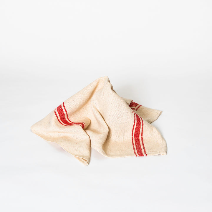 India Cloth Table Napkin, Red Stripe