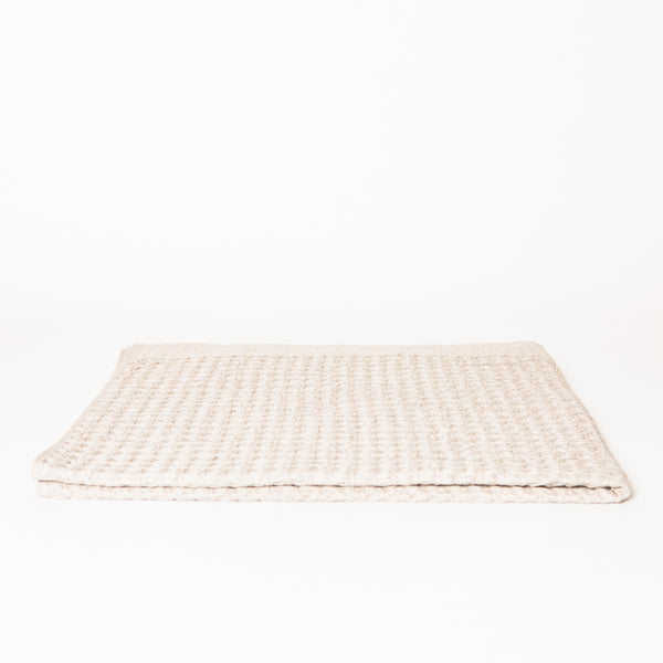 Lattice Linen Bath Towel, Ice Grey