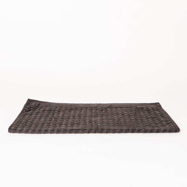 Lattice Linen Hand Towel, Charcoal