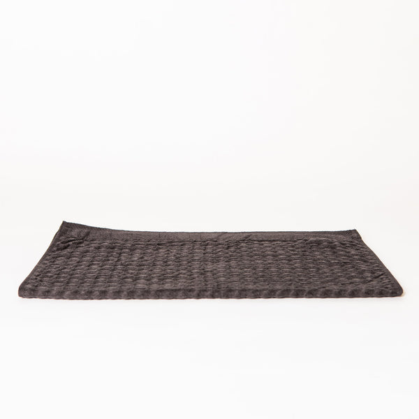 Lattice Linen Towel Set, Charcoal