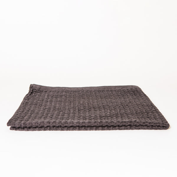 Lattice Linen Bath Towel, Charcoal