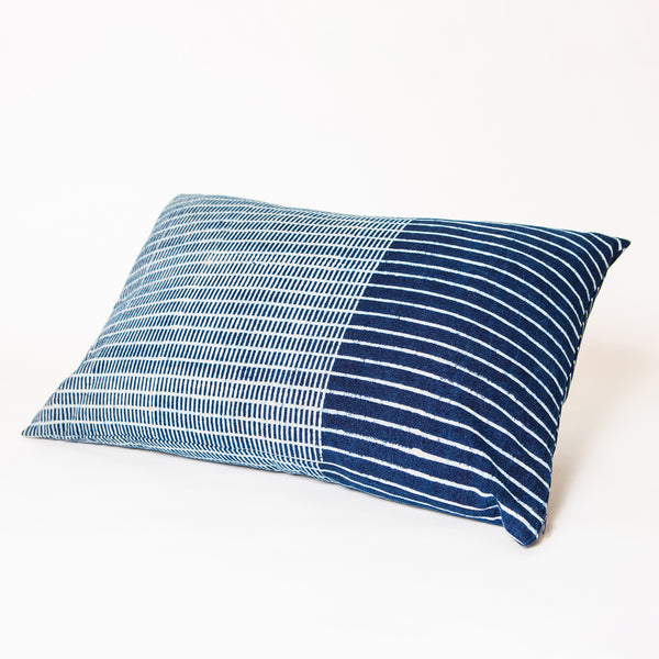 Indigo Cotton Long Rectangular Cushion Cover