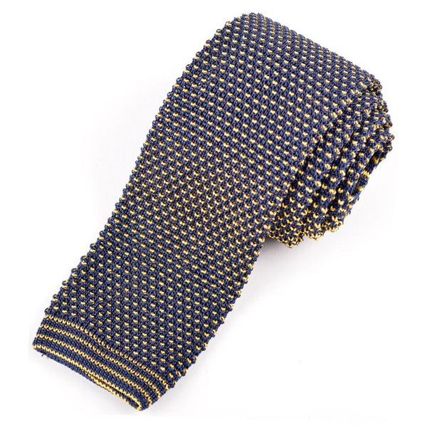 Navy and Gold Silk Knit Tie