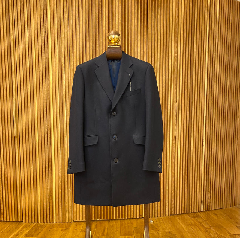 Wool Cashmere Navy Twill Overcoat