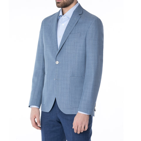 Navy Cotton Linen Boucle Sport Jacket