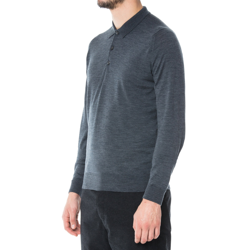 Charcoal Merino L/S Knit Polo Sweater - Sydney's, Toronto, Bespoke Suit, Made-to-Measure, Custom Suit,