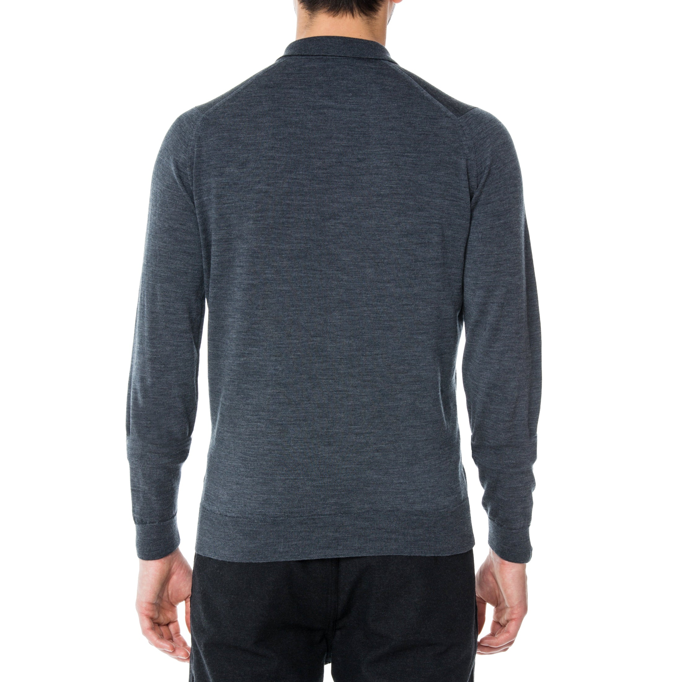 Charcoal Merino L/S Knit Polo Sweater