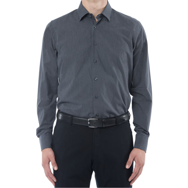 Charcoal Melange Hidden Button Down Dress Shirt - Sydney's, Toronto, Bespoke Suit, Made-to-Measure, Custom Suit,