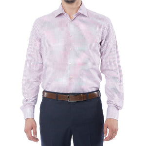 Wine Grid Dress Shirt - Sydney's, Toronto, Bespoke Suit, Made-to-Measure, Custom Suit,