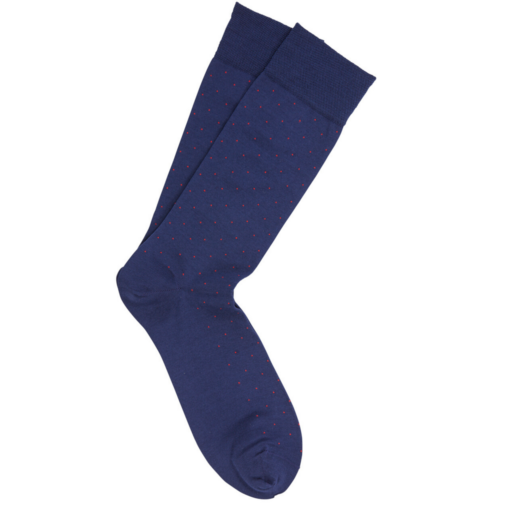 Cobalt with Red Dot Pima Cotton Socks