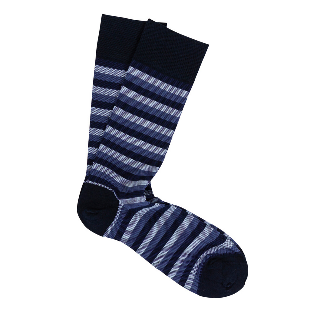 Blue Stripe Pima Cotton Socks