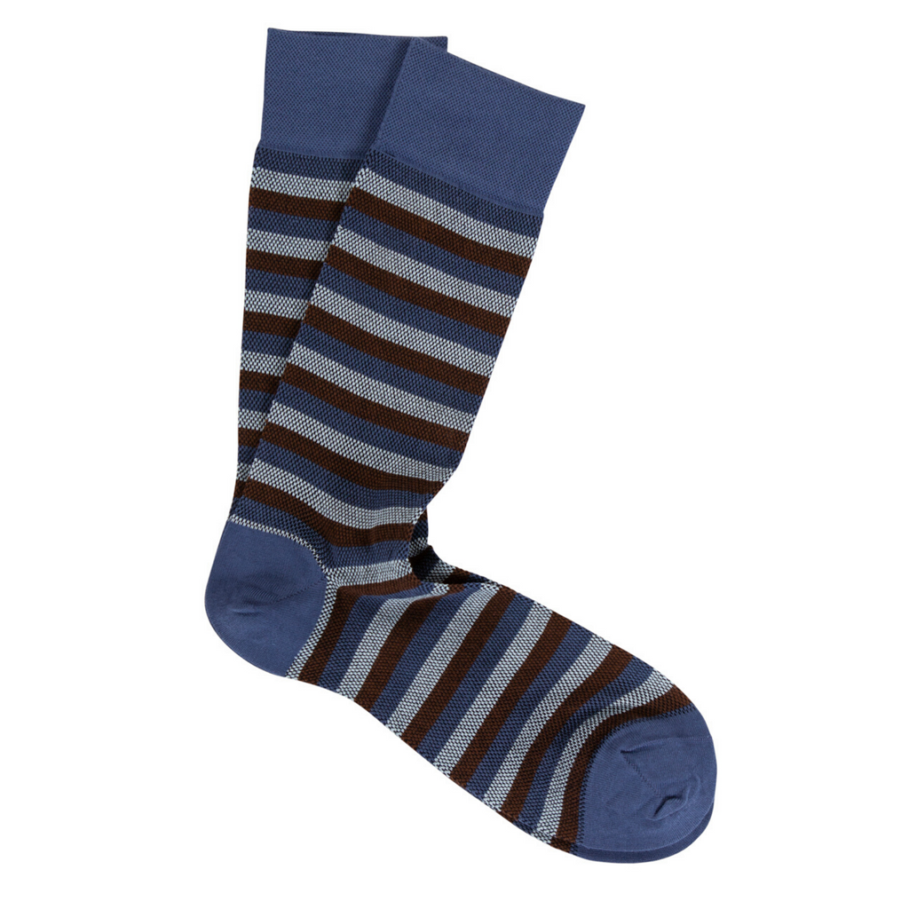 Blue & Brown Stripe Pima Cotton Socks