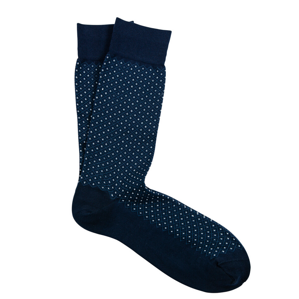 Navy & White Micro Diamond Pima Cotton Socks