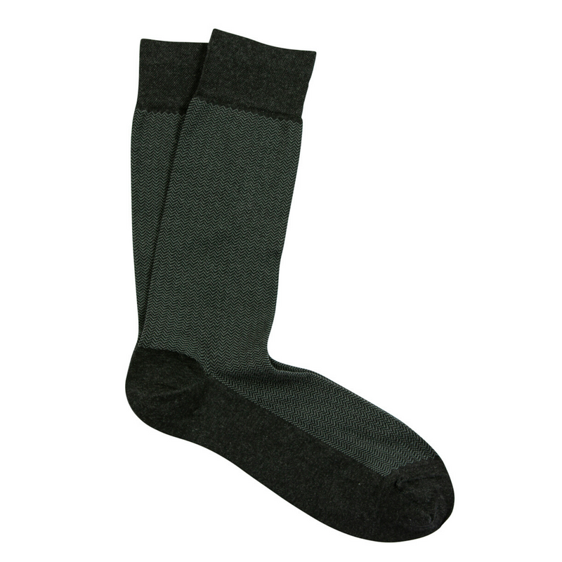 Charcoal Micro Herringbone Pima Cotton Socks