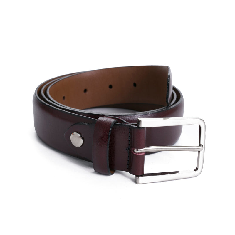 Oxblood Leather Dress Belt - Sydney's, Toronto, Bespoke Suit, Made-to-Measure, Custom Suit,