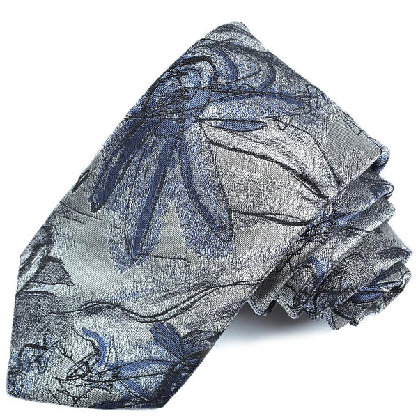 Silver Abstract Floral Silk Tie