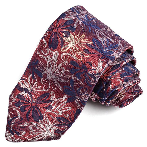 Bordeaux Abstract Floral Silk Tie
