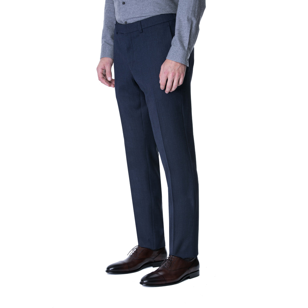 Blue Melange Twill Trouser - Sydney's, Toronto, Bespoke Suit, Made-to-Measure, Custom Suit,