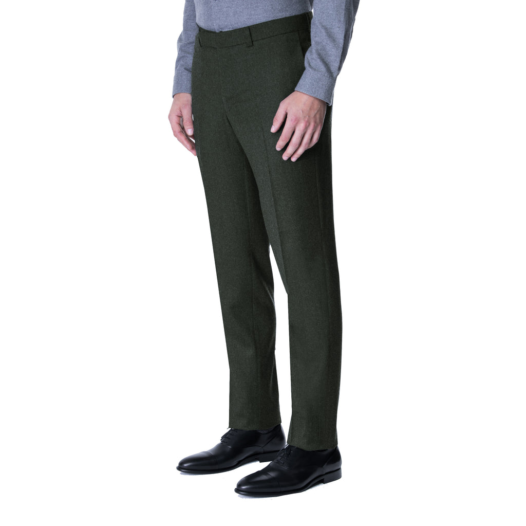 Olive Flannel Yuri Trouser - Sydney's, Toronto, Bespoke Suit, Made-to-Measure, Custom Suit,