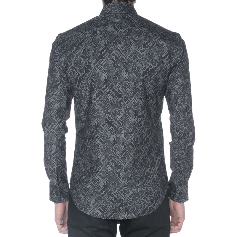 Charcoal Camo Long Sleeve Shirt - Sydney's, Toronto, Bespoke Suit, Made-to-Measure, Custom Suit,