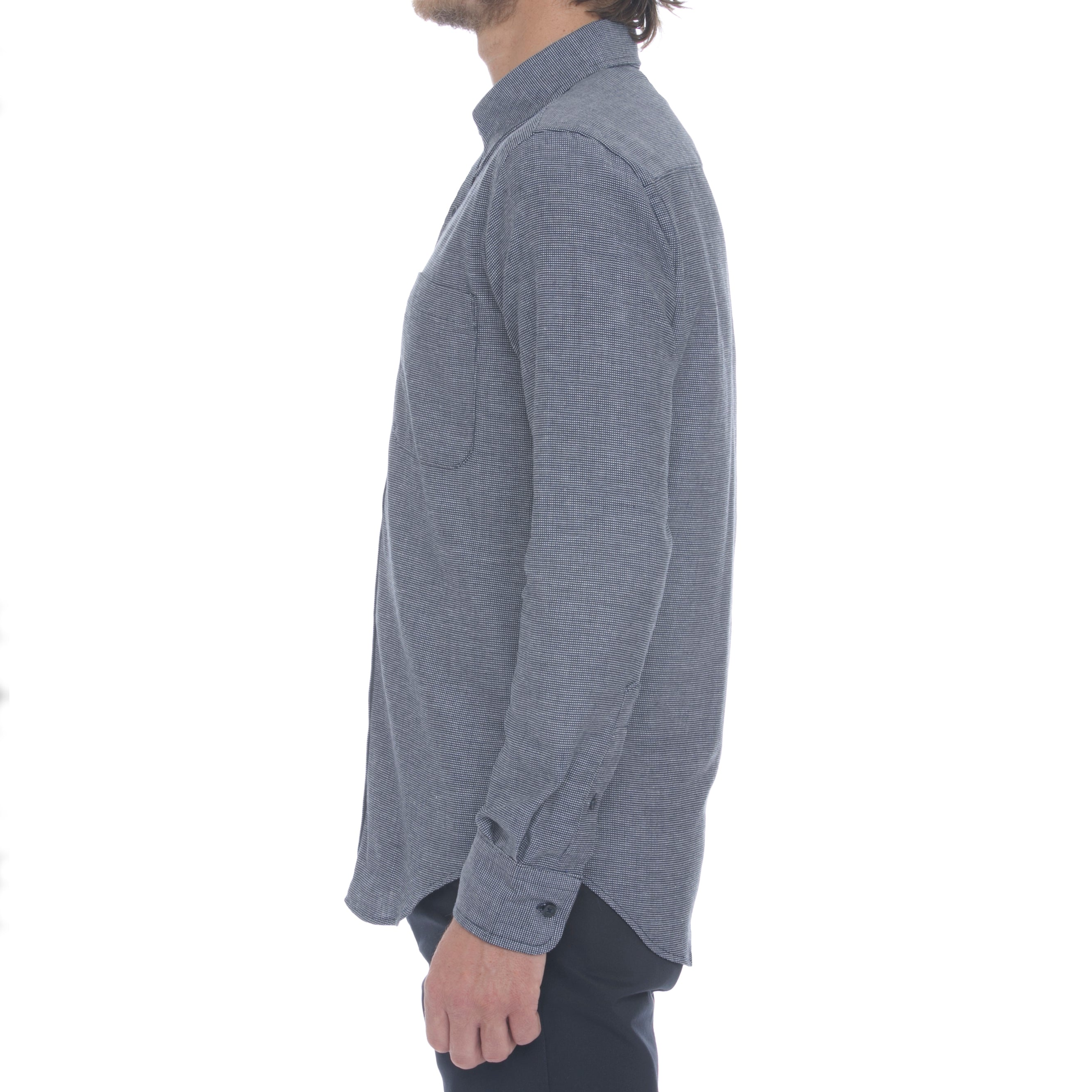 Navy Dobby Grid Long Sleeve Shirt