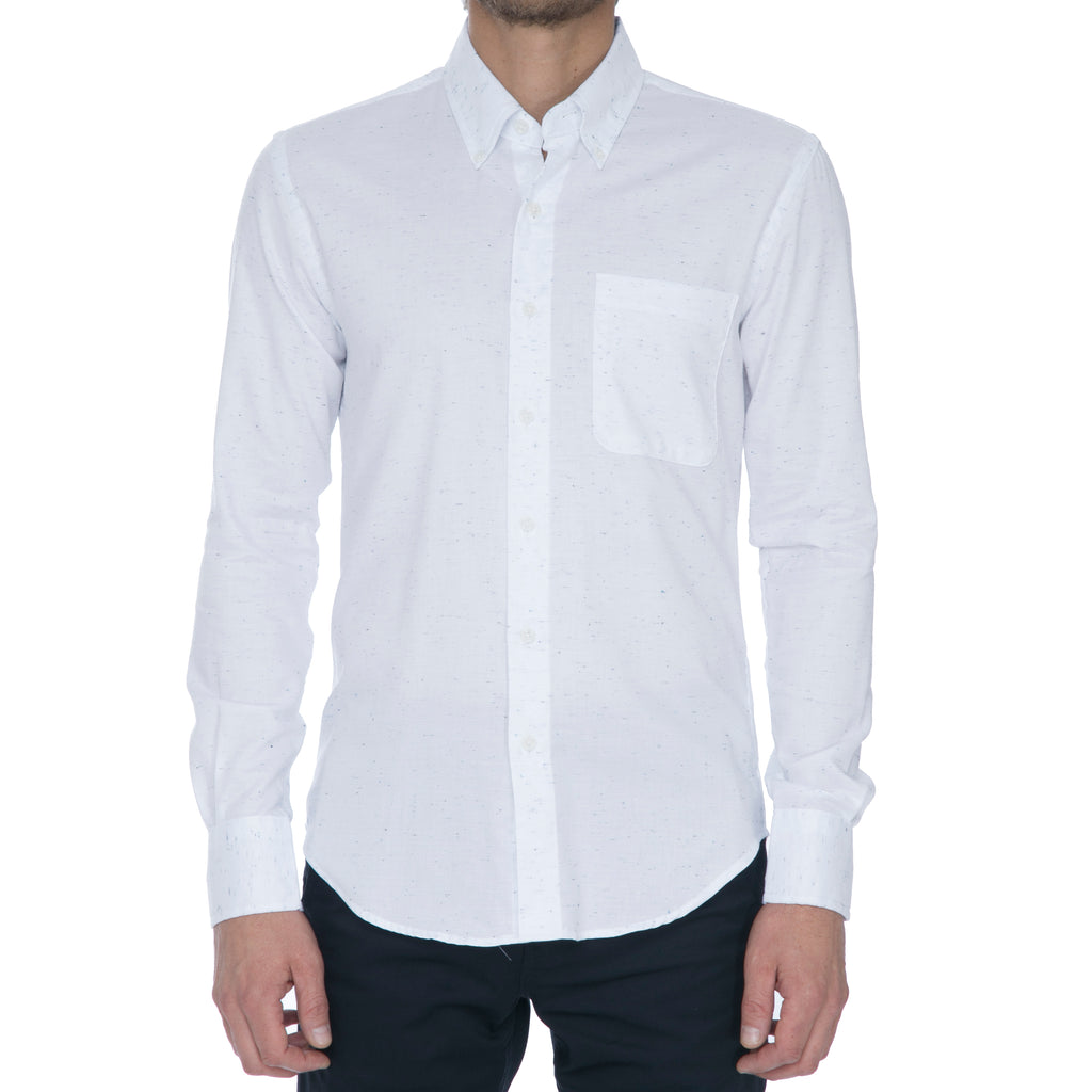 White Navy Nep Long Sleeve Shirt