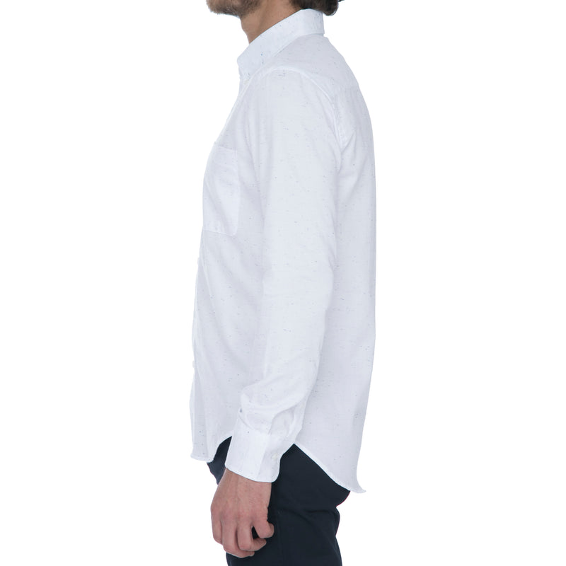 White Navy Nep Long Sleeve Shirt - Sydney's, Toronto, Bespoke Suit, Made-to-Measure, Custom Suit,