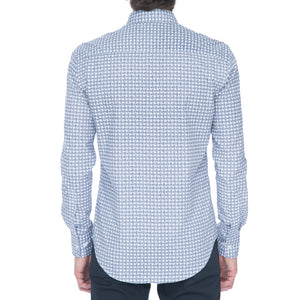 White/Navy Dot Grid Long Sleeve Shirt - Sydney's, Toronto, Bespoke Suit, Made-to-Measure, Custom Suit,