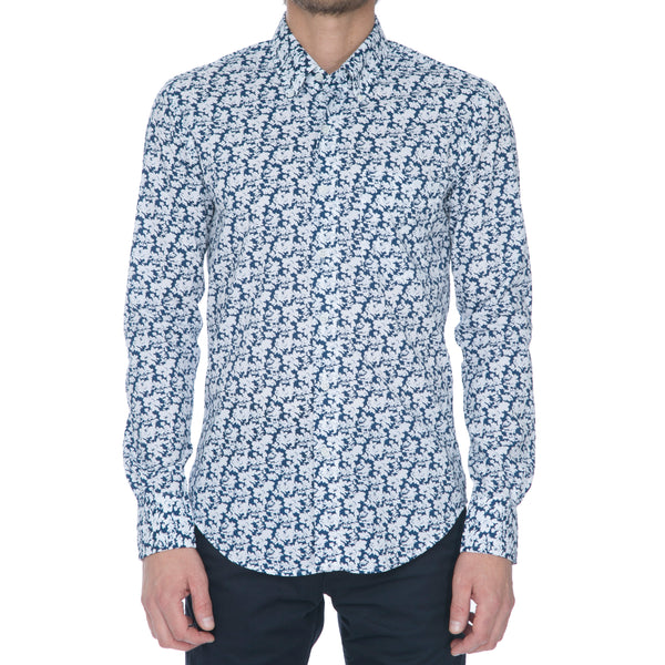 Navy White Floral Long Sleeve Shirt - Sydney's, Toronto, Bespoke Suit, Made-to-Measure, Custom Suit,