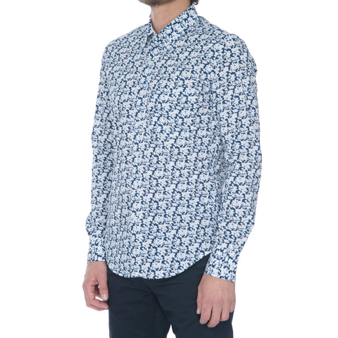 White/Navy Nep Long Sleeve Shirt