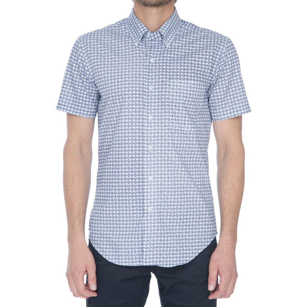 White/Navy Dot Grid Short Sleeve Shirt - Sydney's, Toronto, Bespoke Suit, Made-to-Measure, Custom Suit,