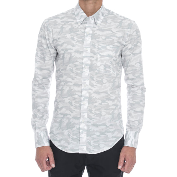White Camo Long Sleeve Shirt - Sydney's, Toronto, Bespoke Suit, Made-to-Measure, Custom Suit,