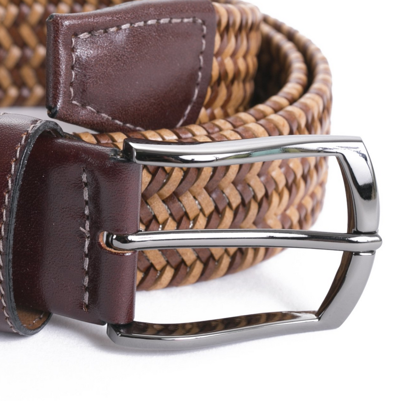 Tobacco Leather Stretch Belt