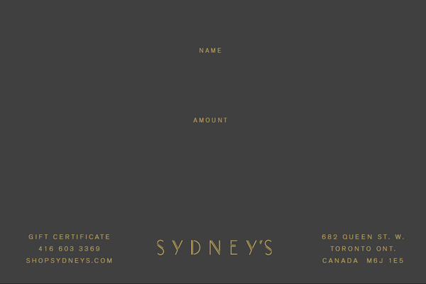 Sydney's $100 Gift Certificate - Sydney's, Toronto, Bespoke Suit, Made-to-Measure, Custom Suit,