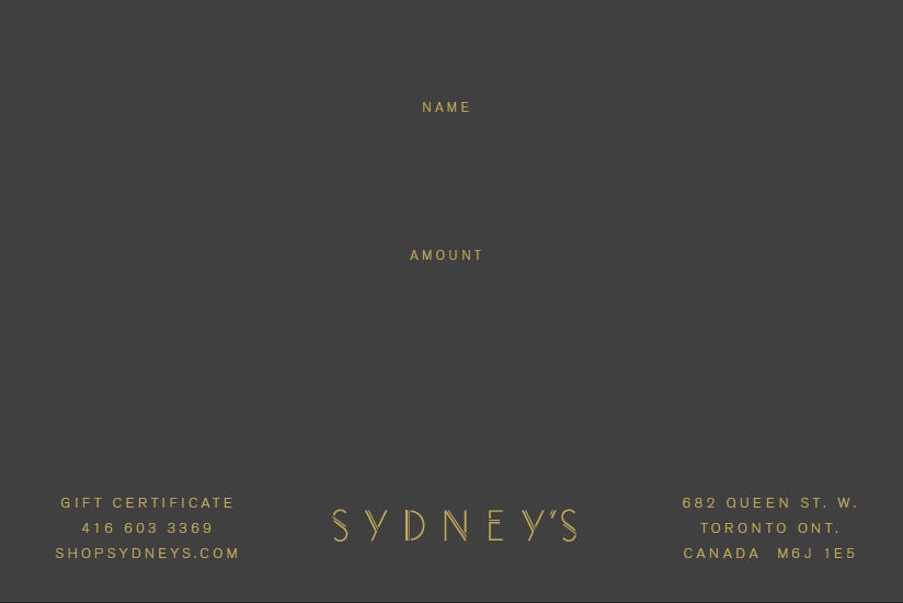 Sydney's $300 Gift Certificate - Sydney's, Toronto, Bespoke Suit, Made-to-Measure, Custom Suit,