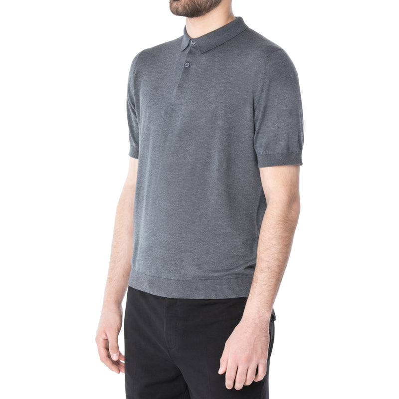 Charcoal Sea Island Cotton Short Sleeve Polo - Sydney's, Toronto, Bespoke Suit, Made-to-Measure, Custom Suit,