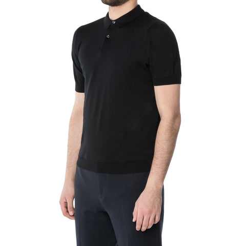 Black Merino L/S Knit Polo Sweater