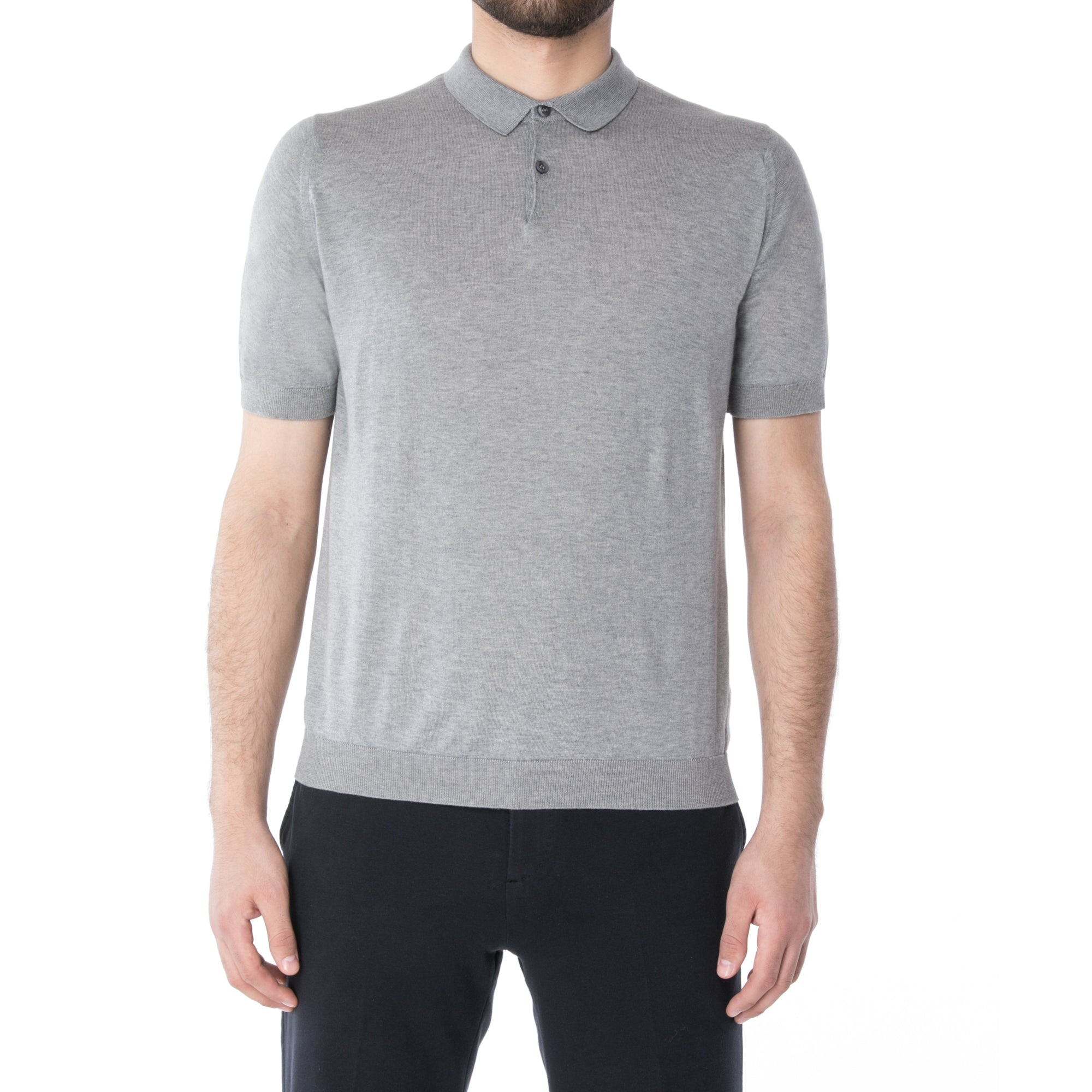 Silver Sea Island Cotton Short Sleeve Polo