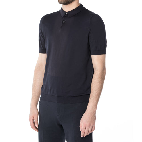 5c216db04ee Midnight Sea Cotton Short Sleeve Polo