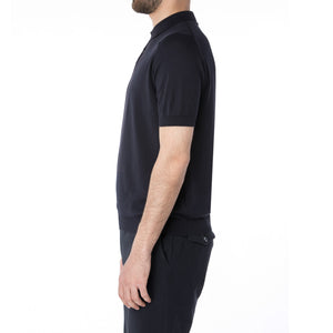 Midnight Sea Cotton Short Sleeve Polo - Sydney's, Toronto, Bespoke Suit, Made-to-Measure, Custom Suit,